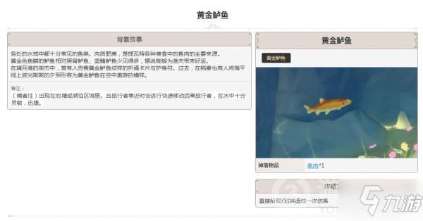 原神动物黄金鲈鱼图鉴大全