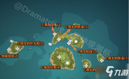 原神游戏中海岛往事活动攻略 海岛往事海螺1位置
